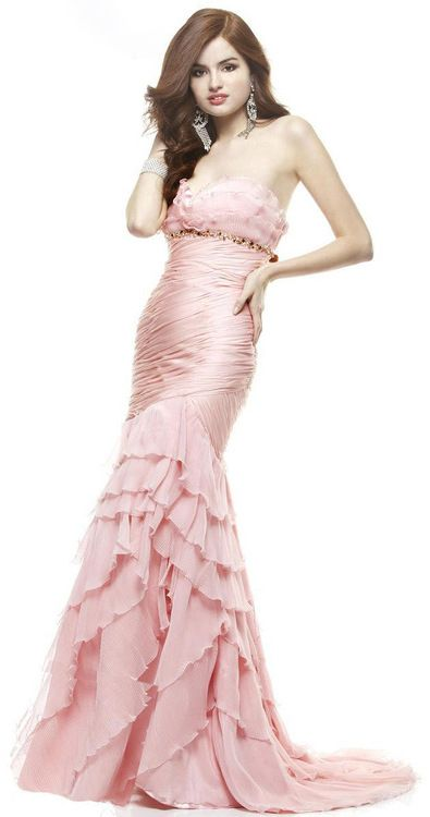 Janique - Empire Silhouette Ruffled Long Gown JA1362