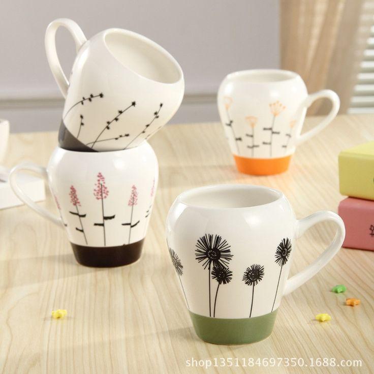 Новое поступление ZAKA мода растения мотивы рот керамические завтрак кружки касса дома декоративной кофейные чашки милашки