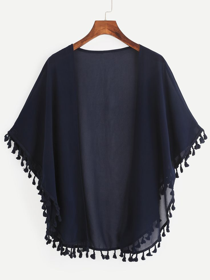 Shop Navy Tassel Trimmed Open Front Chiffon Kimono online. SheIn offers Navy Tassel Trimmed Open Front Chiffon Kimono & more to fit your fashionable needs.