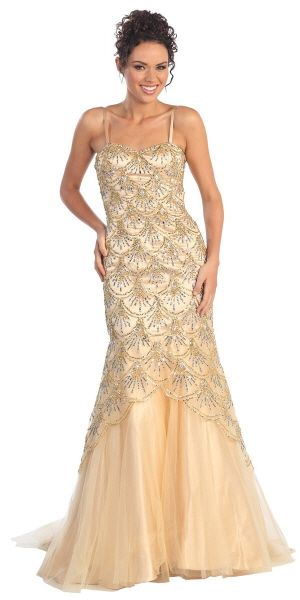 An extravagent fully sequined fit and flare gown with tulle material covering bottom of dress