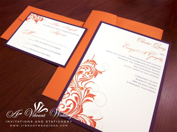 Purple and Orange Wedding Invitation 5x7 Flat Style