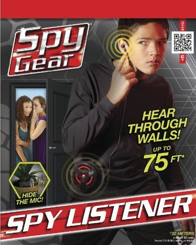 A Covert Listening Device With Dish-Shaped Directional Microphone And Ear Bud - Spy Listener by Spy Gear. $68.16. Spy ListenerNow kids can listen on their spy missions with this listener. This listener works up to 75 feet away - works through walls. They can hide in the next room and eavesdrop on their enemies or sisters and brothers. To use the listener holds the dish shaped transmitter microphone in the direction of the enemy territory and listens in with the ear bud.The ...