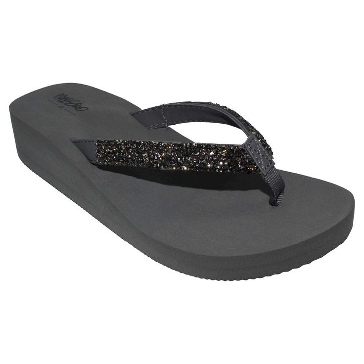 Women's Lanette Rhinestone Detail Wedge Flip Flop Sandals Mossimo Black - Grey 11