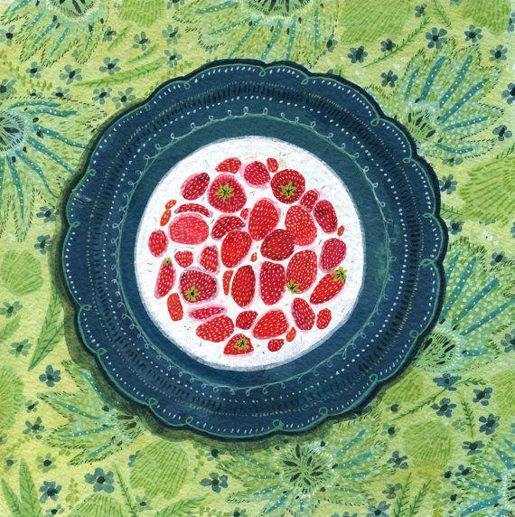 Strawberries and Cream Original Painting by beccastadtlander