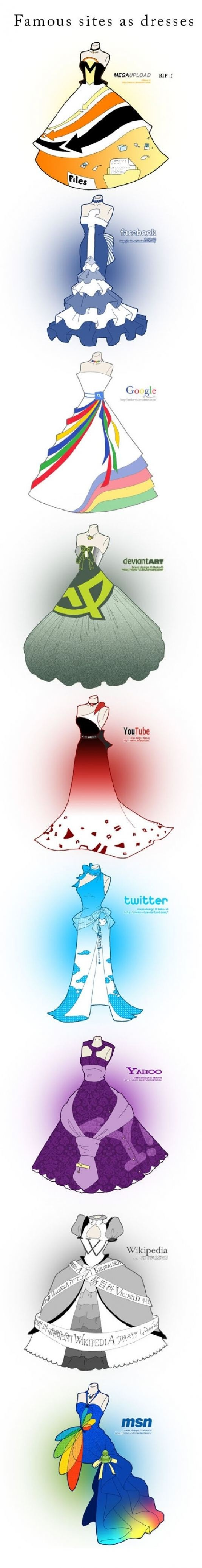 Popular websites re-imagined as dresses.