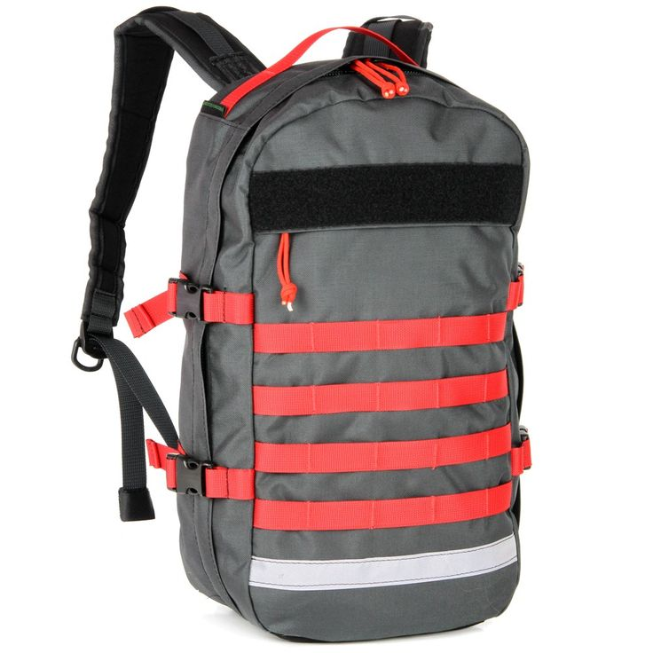 bright red webbing and grey bullpup hiking pack