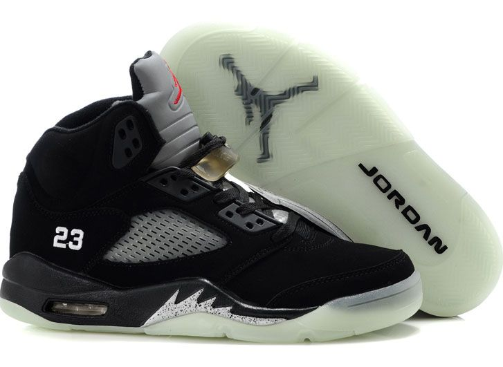 Fashion Black Sliver Air Jordan 5 Glow In The Dark Basketball Shoes Shop