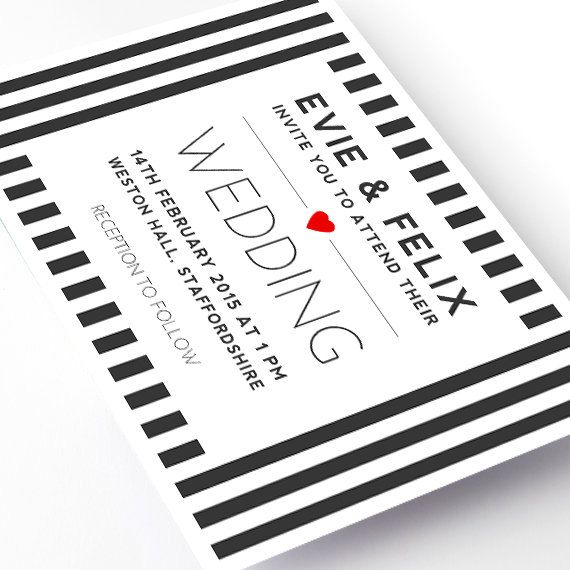 Stripe Heart Black and White Wedding Invitation