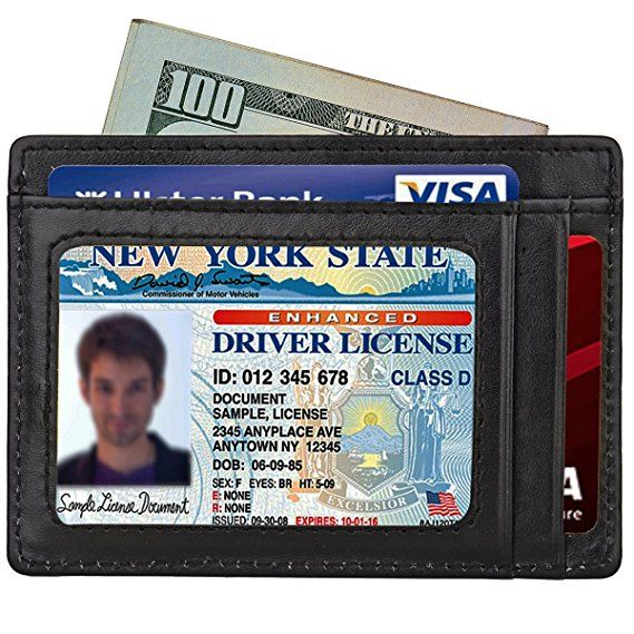 Mens Slim Wallet RFID Front Pocket Wallet Minimalist Secure Credit Card Holder