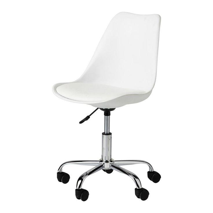 Chaise de bureau à roulettes blanche | Maisons du Monde