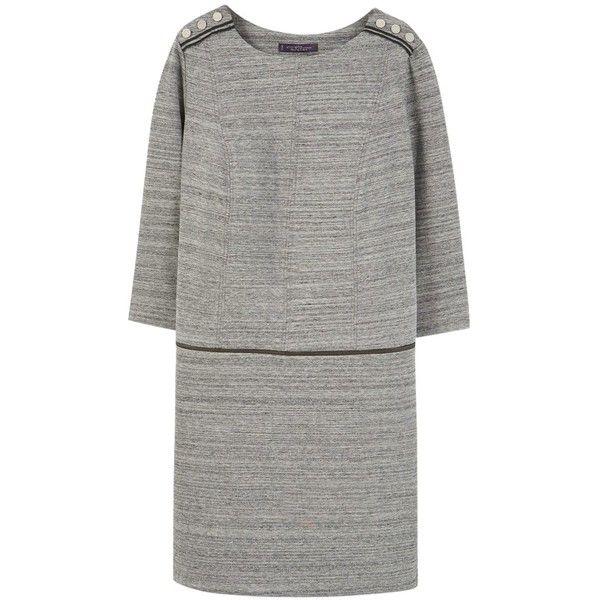 Violeta by Mango Flecked Button Detail Dress, Grey (£35) ❤ liked on Polyvore featuring dresses, long-sleeve mini dress, gray plus size dress, maxi dresses, plus size mini dresses and plus size midi dresses