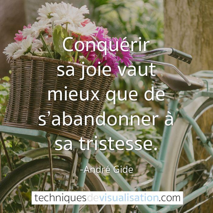 Techniques de Visualisation - Citation - André Gide - Conquérir sa joie vaut mieux que de s'abandonner à sa tristesse. #pensée #citation #positive #bonheur