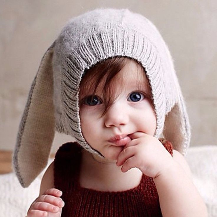 cotton crochet baby hat Rabbit ear shape solid color knitted cap newborn girl beanie toddler infant gorro kids photography props