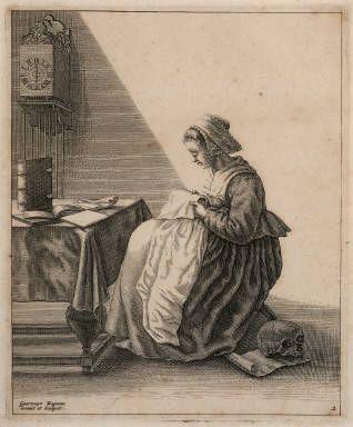A Woman Ruffling (engraving)- Geertruydt Roghman- Herbert F. Johnson Museum of Art