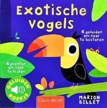 Exotische vogels. De levensechte geluiden, net niet te hard of te zacht, weerklinken uit het boekje nadat je het knopje op de vogel zacht hebt ingedrukt.