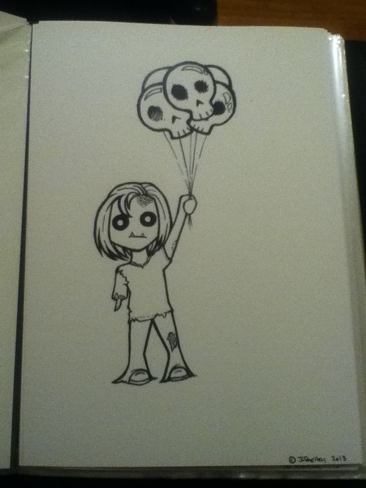 Cute zombie with skull balloons. Drawn with ink on water colour paper. All artwork posted is done by me (neonstar) unless stated.