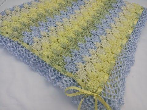 Cobija o mantita con puntada de hojitas en punto puff a crochet - YouTube