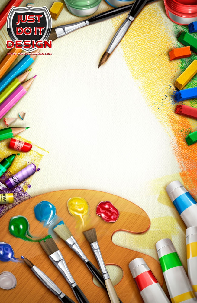 Шаблон открытки кисти и краски, днем