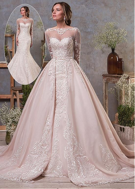 Elegant Tulle & Organza Bateau Neckline Natural Waistline 2 In 1 Wedding Dress With Lace Appliques & Beadings & Detachable Skirt