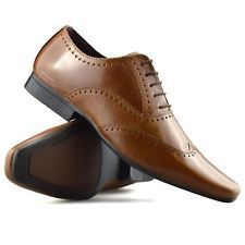mens leather brogues smart formal office casual lace up