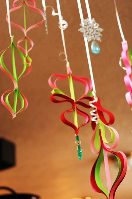 hanging paper ornaments-couldn't find a tutorial to go along with, but will use as inspiration. Reminds me of How the Grinch Stole Christmas...
