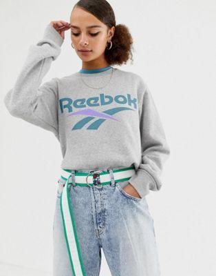 Reebok Classics Sweat shirt avec logo vecteur Gris