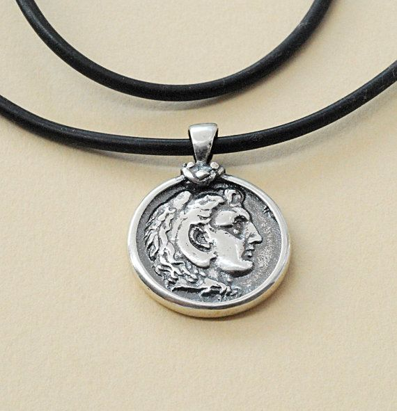 Unisex Necklace Silver Alexander the Great Ancient di GreekMythos, $48.00