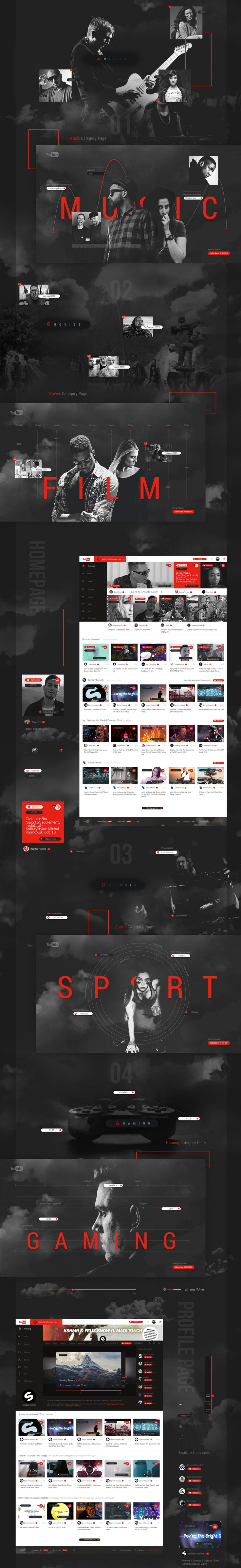 This is my personal Youtube Redesign Concept. This design wins Gold Muse Award od Muse Creative Awards 2016.