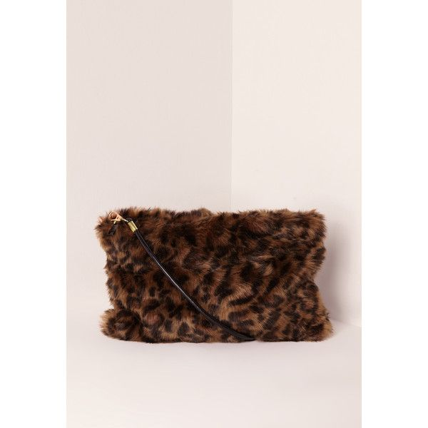 Missguided Leopard Print Mini Faux Fur Clutch Bag ($26) ❤ liked on Polyvore featuring bags, handbags, clutches, multi, pink leopard handbag, pink clutches, leopard print handbag, animal purse and leopard purse