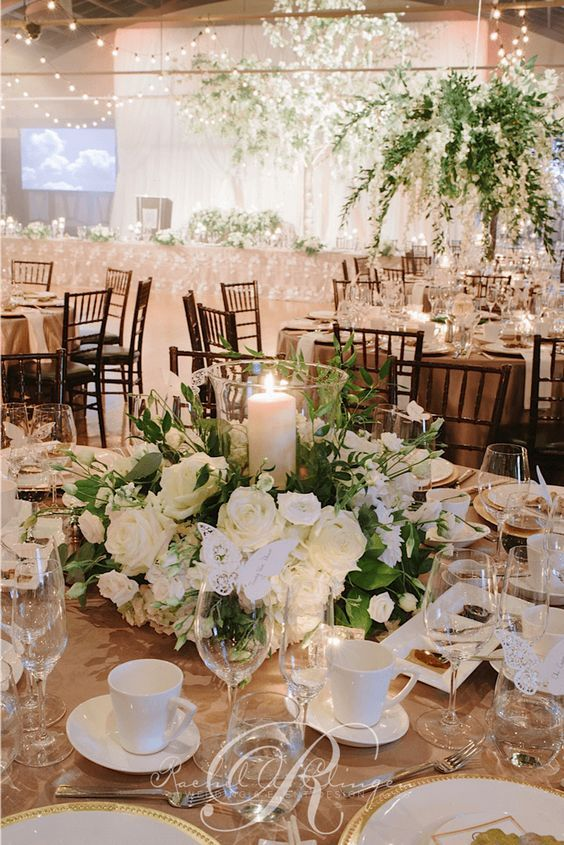 Luxury green and white ballroom wedding reception decor; Via Rachel A. Clingen Wedding & Event Design