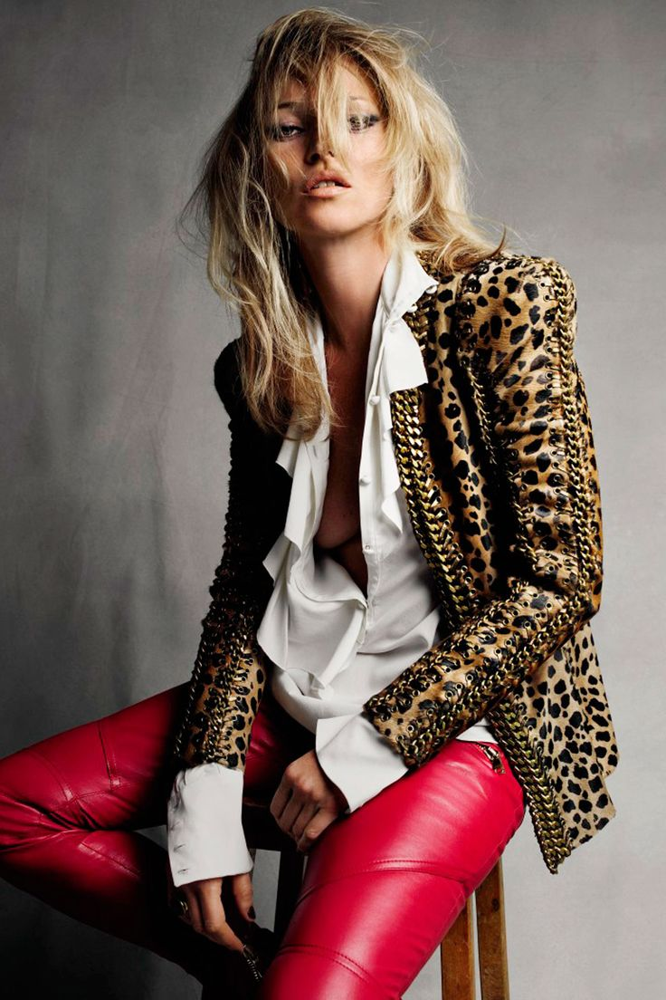 Kate Moss; Leopard jacket; Red pants; Leather; White shirt