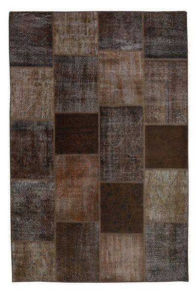The Orient Bazaar - Overdyed Rug - Brown Color Vintage Patchwork Rug - Recoloured Contemporary Rug