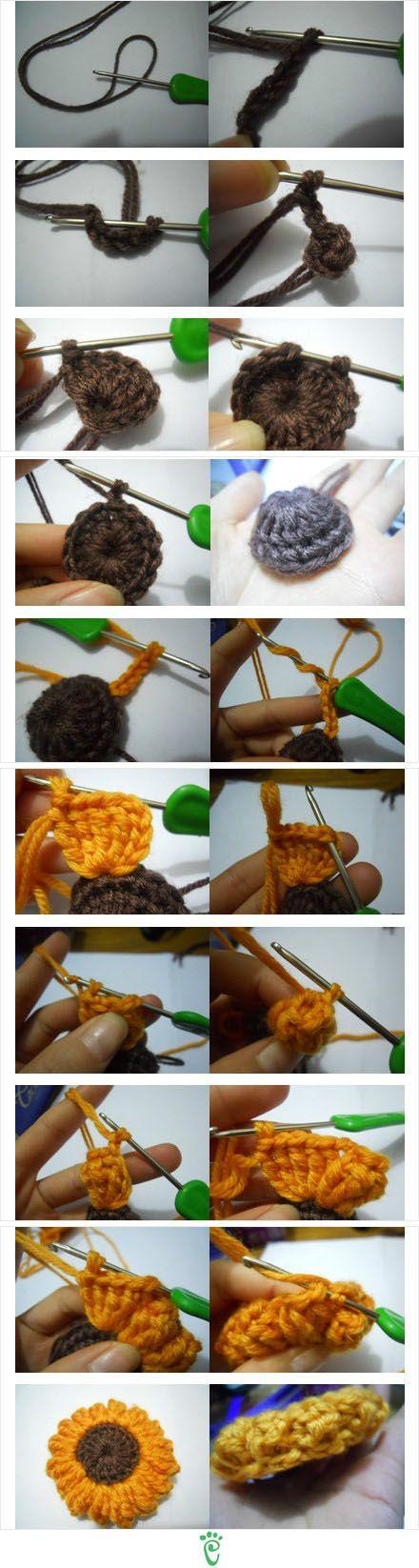 Crochet Sunflower - Photo Tutorial--- great embellishment for #patpatshats www.patpatshats.com