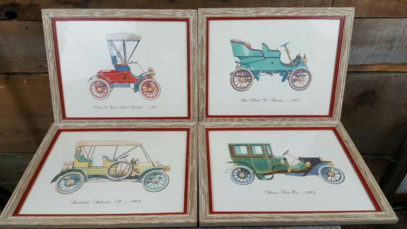 Old Car Circa Framed Art, E & E Art Gallery, IL, Professionally, Ford, Oldsmobile, Studebaker, Thomas, Office, Man Cave, Vintage Decor