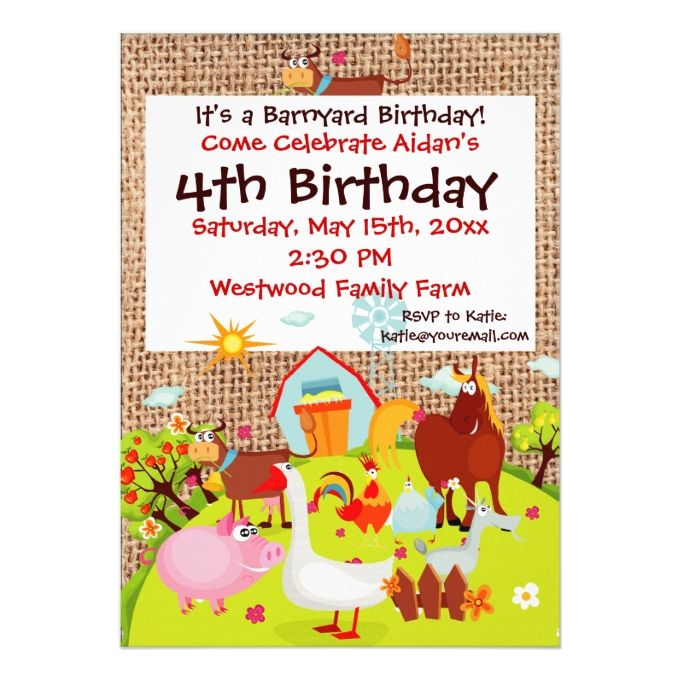 1390 best kids birthday invitations images on pinterest birthday barnyard farm animals burlap birthday invitation stopboris Choice Image