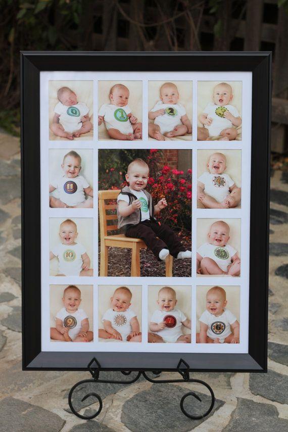 Lindo!!! Registro de crescimento mensal do bebê - ótima idéia pra decorar o aniversário!