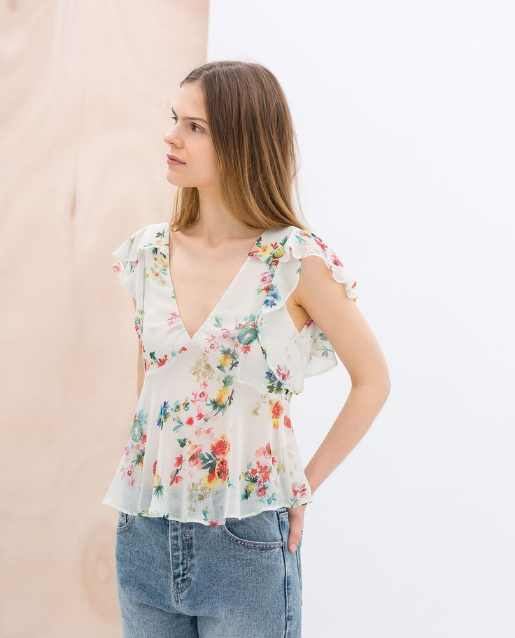 ZARA - TRAFALUC - PRINTED TOP WITH FRILL SLEEVES