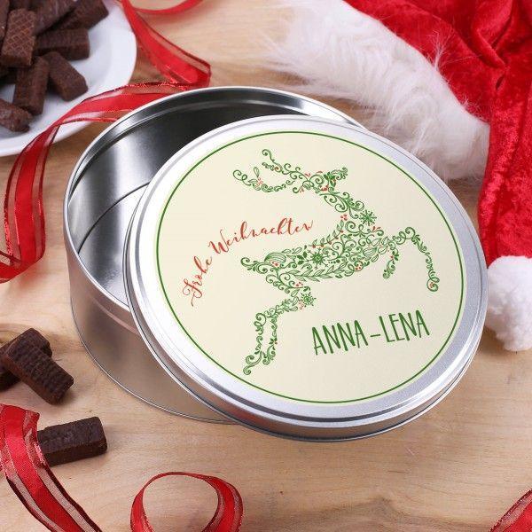 Ein Wunderschoner Elch Aus Ornamenten Ziert Diese Geschenkdose Aus Metall Das Motiv Wird Mit Den Worten Froh Geschenke Weihnachten Personalisierte Geschenke