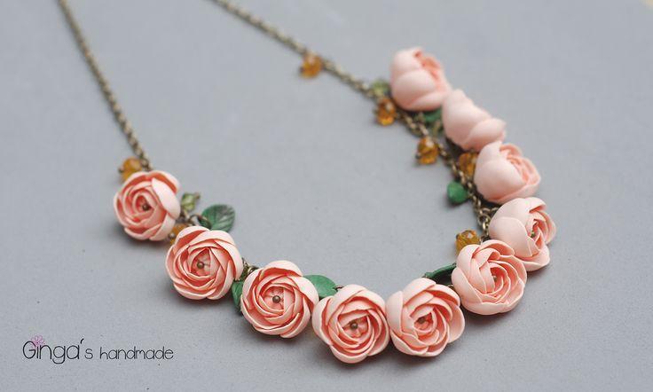 polymer clay roses. Handmade.