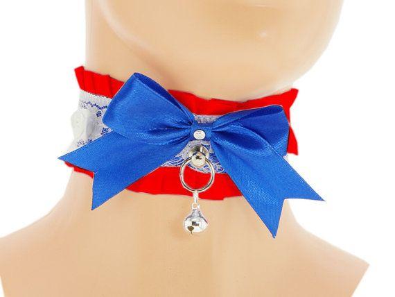 White blue red satin Day Collar Pet Kitten DDLG by FashionForWomen