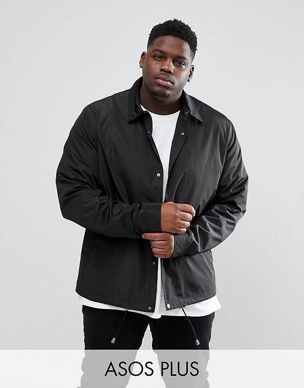 ASOS PLUS Coach Jacket in Black | Plus size mens clothing