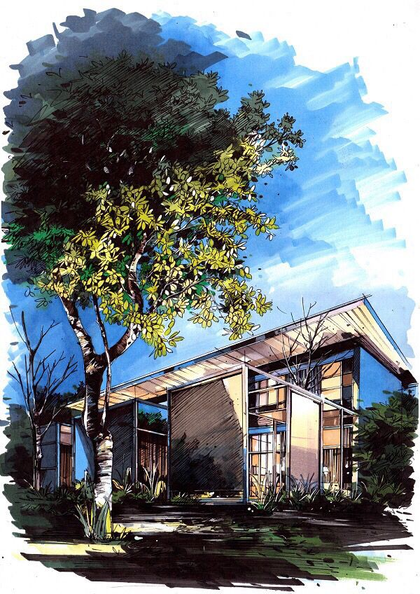 House With Stream Watercolor Architecture Landscape Paintings