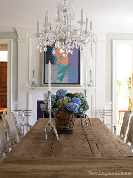 Rustic Wood Table And Crystal Chandelier For Dining Room Decorating
