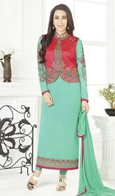 Karisma Kapoor Sea Green Color Shaded Georgette Suit #bollywoodsuit #bollywooddesignerdresses You will be the center of attention like Karisma Kapoor in this sea green color shaded georgette suit. This beautiful attire is showing some great embroidery done with lace and resham work. USD $ 89 (Around £ 61 & Euro 68)