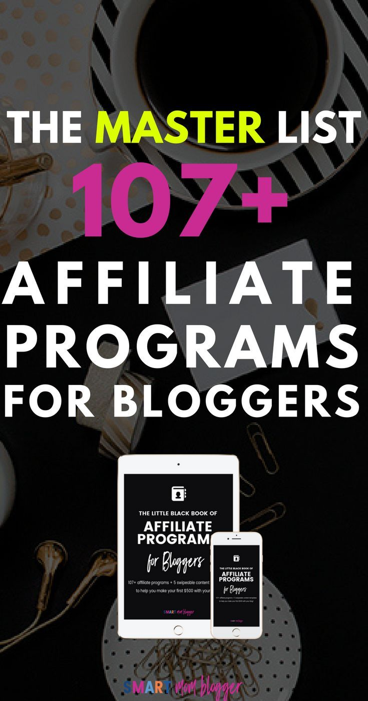 The master list of over 107 affiliate programs to make it easy to make money blogging. The Little Black Book of Affiliate Marketing for beginners breaks down the process and demystifies the process - love it! #LBBAP