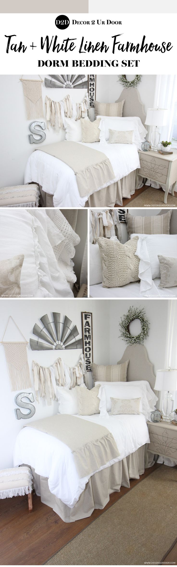 Farmhouse dorm room bedding and decor. Love that fixer upper style? Neutral dorm bedding is always a favorite. This tan and white farmhouse dorm bedding set features linen stripes, cable knit textures, and white frills. Our neutral farmhouse dorm bedding has us swooning.