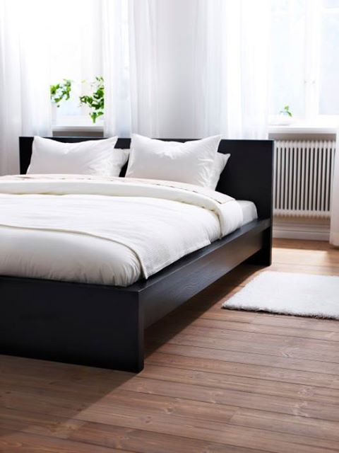 Ikea Malm Bed   No Storage, Black Laquered Low Frame