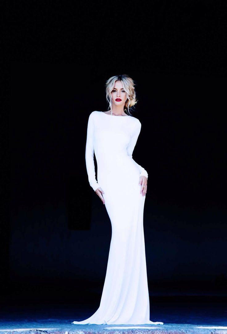 Front - long white dress