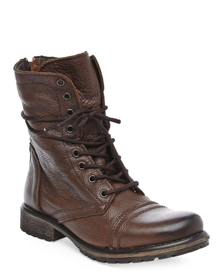 STEVE MADDEN Brown Fame Combat Boot