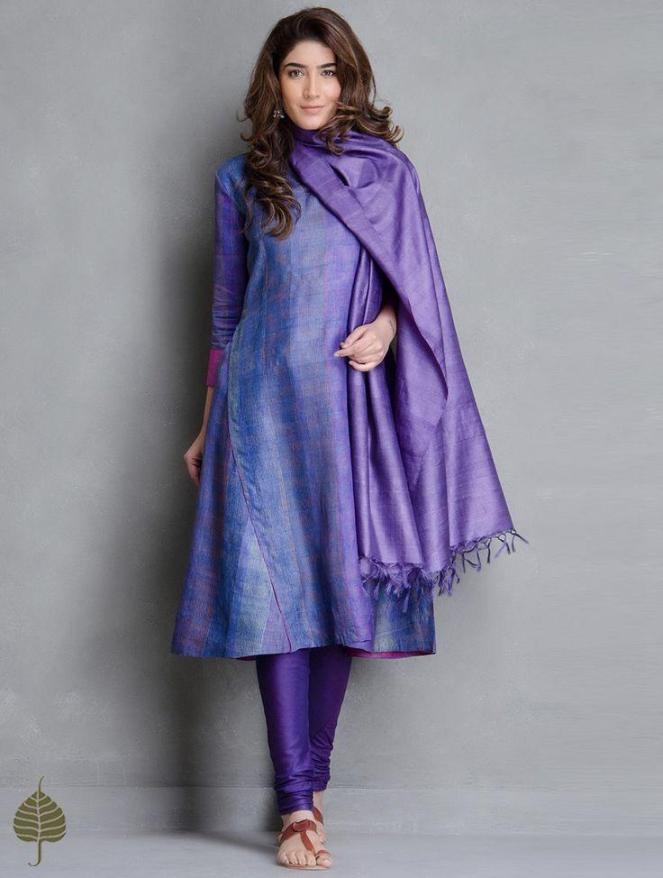 Buy Multi Color Block Printed Tussar Kurta by Jaypore Silk Apparel Tunics & Kurtas Print Paradise Vibrant Hand Dupattas More Online at Jaypore.com
